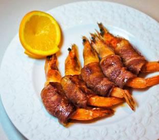 橙香培根虾卷的做法步骤_1