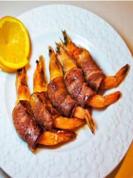 橙香培根虾卷