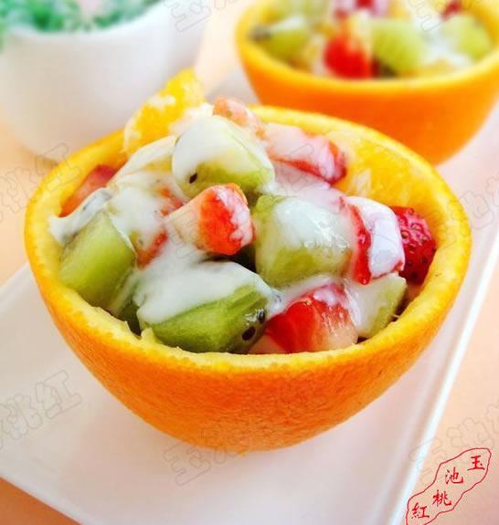 橙盅酸奶水果沙拉的做法步骤_1