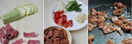 西葫芦炒牛肉的做法步骤_1
