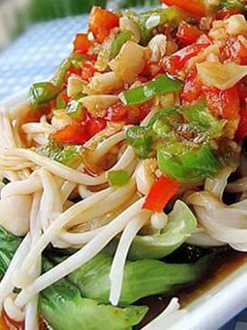 生菜拌金针菇