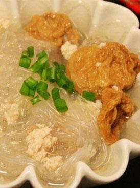 油面筋肉末米粉汤