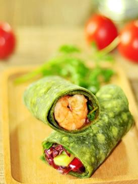鲜虾仁菠菜卷