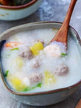 肉丸果味米粥