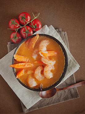 明蝦蟹腿番茄湯