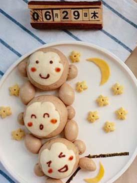 猴子捞月豆沙包