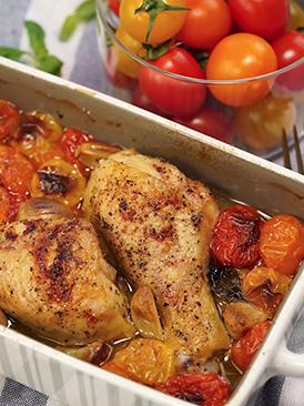番茄罗勒烤鸡腿