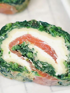 烟熏三文鱼菠菜卷