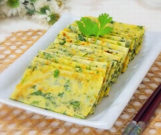 芹菜叶玉米面鸡蛋饼