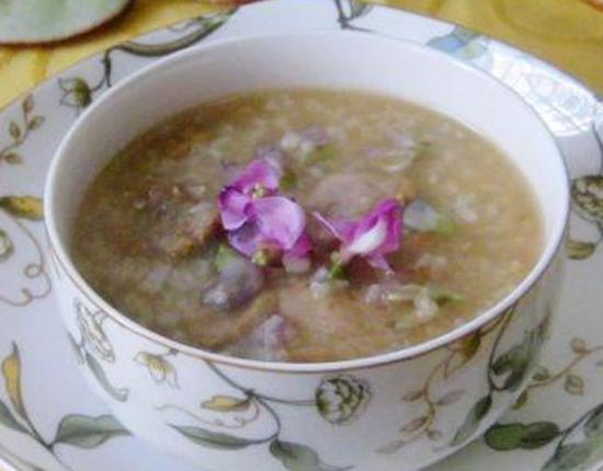 扁豆花肉片糯米粥的做法大全_扁豆花肉片糯米粥的家常做法怎么做好吃