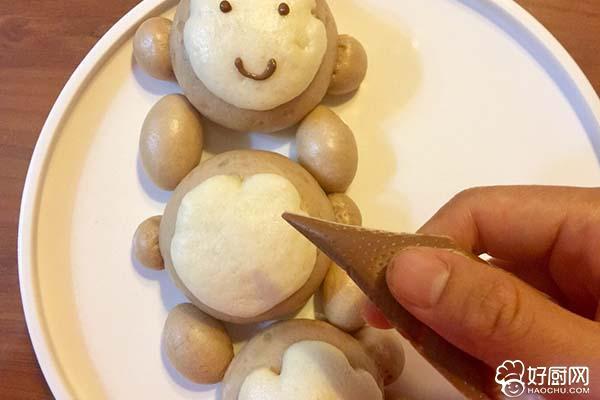 猴子捞月豆沙包的做法步骤_16